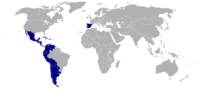 スペイン語公用語地域図(By Onofre Bouvila (Own work) [Public domain], via Wikimedia Commons)